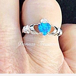 💐Blue Opal & White Crystal Claddagh Ring